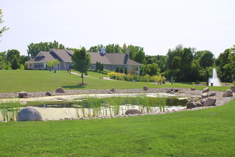 Jack and Engrid Meng hospice residence grounds with scenic pond