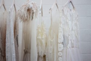 wedding gowns on hanger